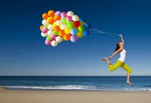 Jumping with balloons. 5 Awesome Hacks to Get Rid of Self-Pity Once and For All
