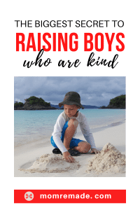 Young boy playing on the sand. The Biggest Secret to Raising Boys Who Are Kind