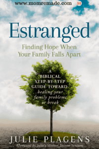 Estranged: Finding Hope When Your Family Falls Apart book with tree in middle and dry parched grown at bottom.